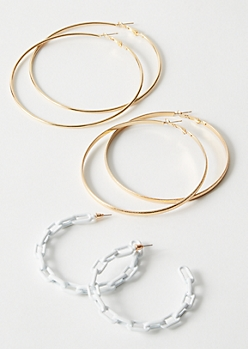3-Pack White Matte Link Chain Hoop Earring Set
