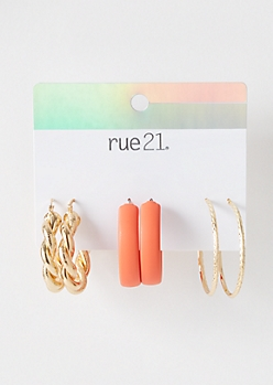 3-Pack Orange Matte Twist Hoop Earring Set