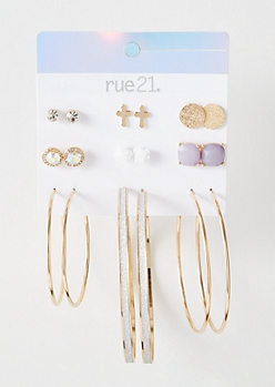 9-Pack Gold Lilac Stone Earring Set