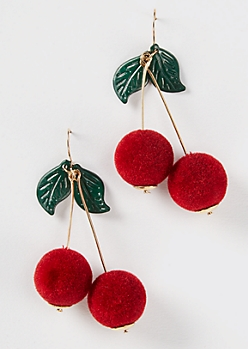 Cherry Pom Pom Drop Earrings