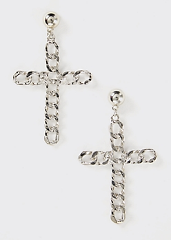 Silver Chain Cross Drop Earrings