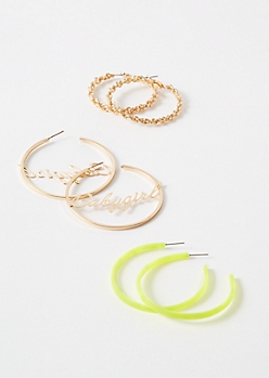 3-Pack Gold Neon Baby Girl Hoop Earring Set