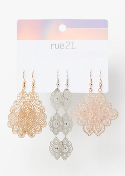 3-Pack Mixed Metal Filigree Dangle Earring Set