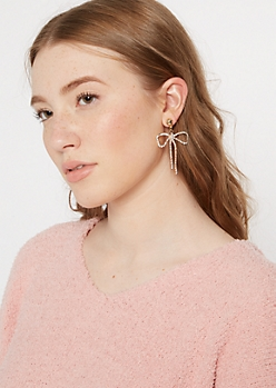 Gold Gem Bow Earrings