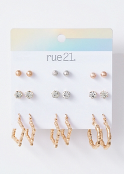 9-Pack Mixed Metal Texture Hoop Earring Set