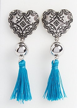Heart Tassel Statement Drop Earrings