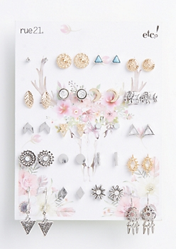 20-Pack Stud & Drop Earring Set