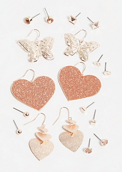 9-Pack Rose Gold Heart Drop Earring Set