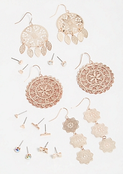 9-Pack Rose Gold Filigree Medallion Earring Set