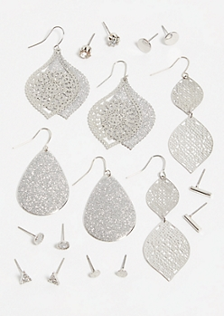 9-Pack Silver Filigree Drop Earring Set