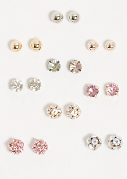 9-Pack Mixed Rhinestone Ball Stud Earring Set