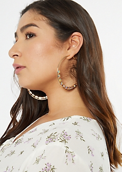 Gold Gem Studded Hoop Earrings