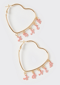 Gold Honey Charm Heart Hoop Earrings