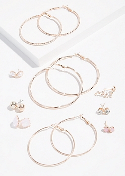 9-Pack Rose Gold Pink Stone Earring Set