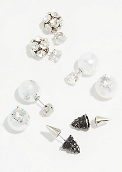 4-Pack Gem Cluster Double Stud Earring Set