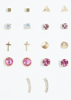 9-Pack Gold Purple Gem Stud Earring Set
