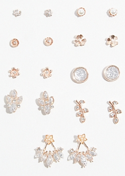 9-Pack Rose Gold Glitter Jacket Stud Earring Set