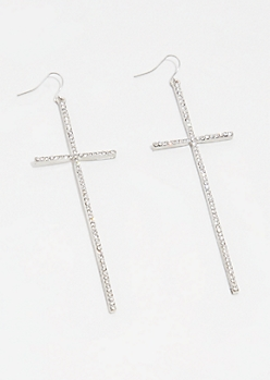 Silver Oversized Cross Drop Earrings