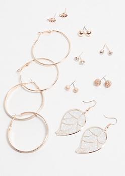 9-Pack Rose Gold Gem Leaf Earring Set