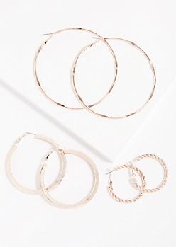 3-Pack Rose Gold Twisted Hoop Earrings