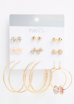 9-Pack Gold Bow Flower Stud Hoop Earring Set