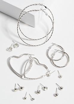 9-Pack Silver Heart Gemstone Earring Set