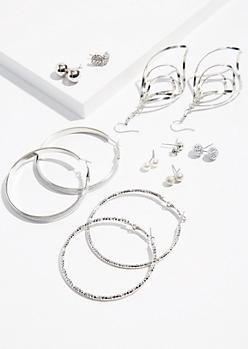 9-Pack Silver Coiled Earring Set