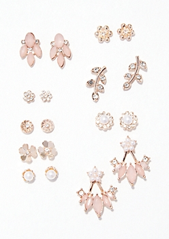 9-Pack Rose Gold Pink Flower Deco Stud Earring Set