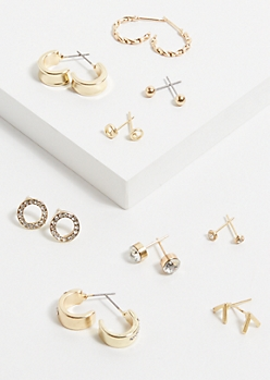 9-Pack Gold Ring Micro Earring Set