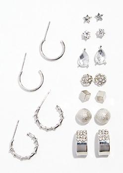 9-Pack Silver Micro Hoop and Stud Earring Set