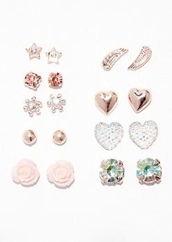 9-Pack Pink Rose Gold Flower Earring Set