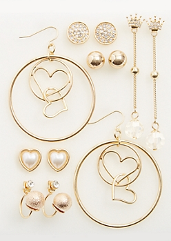 6-Pack Gold Heart & Crown Stud & Hoop Earrings