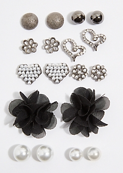 9-Pack Black Mesh Flower Stud Earring Set