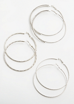 3-Pack Silver Hammered Hoop Earring Set