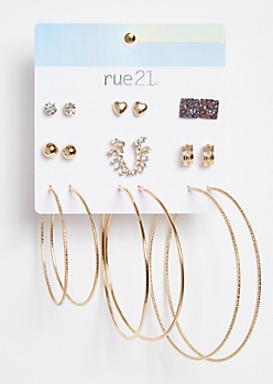 9-Pack Gold Druzy Stone Earring Set