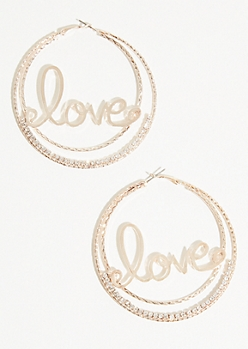 Gold Love Skinny Hoop Earrings