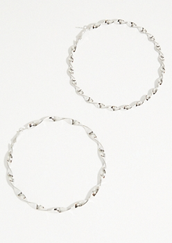 Silver Oversized Twist Hoop Earrings