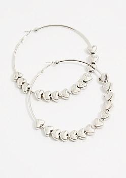 Silver Heart Bead Oversized Hoop Earrings
