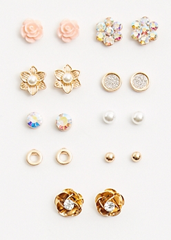 9-Pack Gold Floral Stud Earring Set