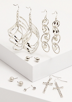 6-Pack Silver Gem Cross Earring Set