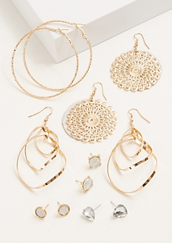 6-Pack Gold Medallion Earring Set