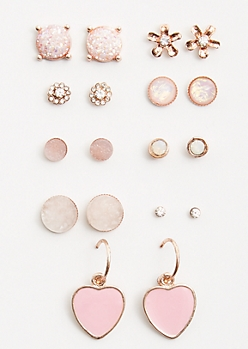 9-Pack Rose Gold Heart Stone Stud Earring Set