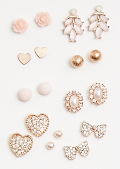 9-Pack Rose Gold Mini Heart Stud Earring Set