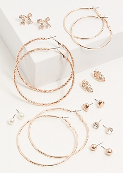 9-Pack Rose Gold Gem Bow Earring Set