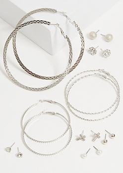 9-Pack Silver Pearl Cross Earring Set