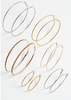 6-Pack Mixed Metal Skinny Hoop Earring Set
