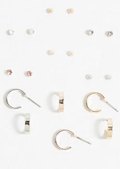 9-Pack Mixed Metal Mini Earring Set