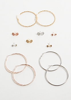 9-Pack Mixed Metal Glitter Post and Hoop Earring Set