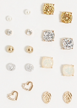 9-Pack Mixed Metal Glitter Square Earring Set