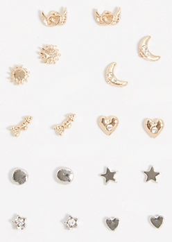 9-Pack Mixed Metal Star Angel Wings Earring Set